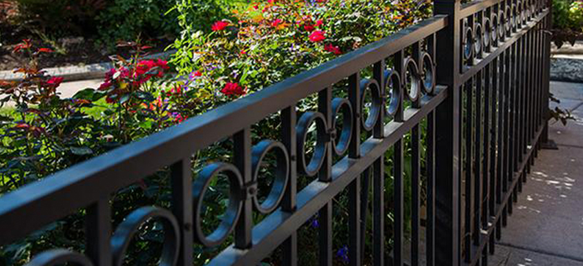 black aluminum fence with flowers