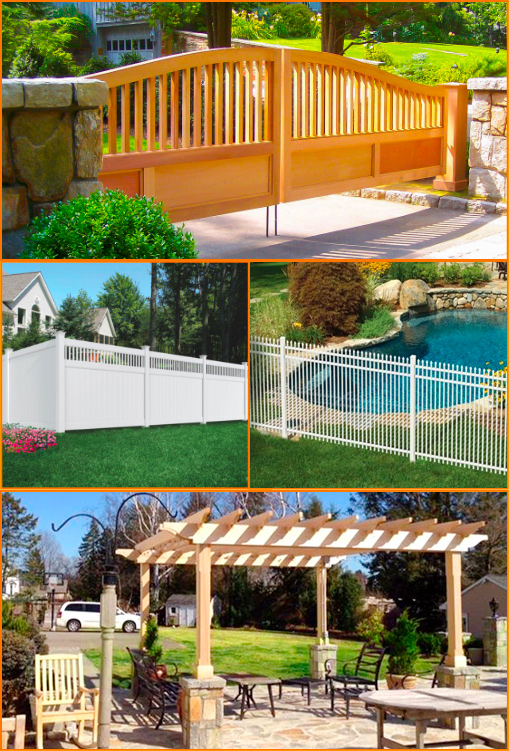 wood fence, white vinyl fence, white aluminum fence, and pergola examples