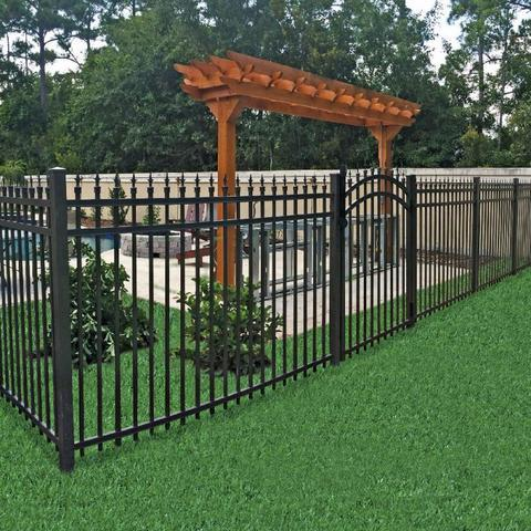 black aluminum fence in backyard with pool and pergola