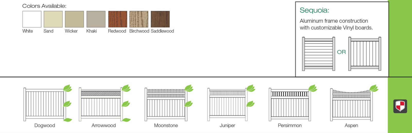 screen style fencing colors and types