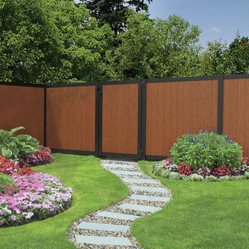 large red and black vinyl fence