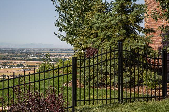 black aluminum fence with double gate