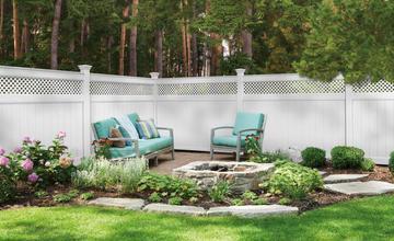 large white vinyl fence around backyard patio