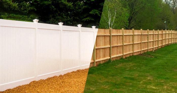 white vinyl fencing vs. wood fencing example
